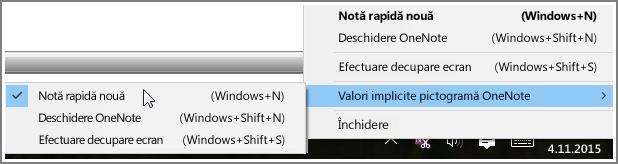 Captură de ecran cu bara de sistem cu opțiuni OneNote.