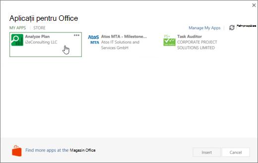 Captură de ecran a paginii Office Apps fpr în secțiunea aplicațiile mele în cazul în care vă pot accesa și a gestiona aplicațiile Project.