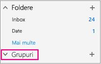 Veți găsi un nod grupurilor în navigarea din stânga în Outlook pe web