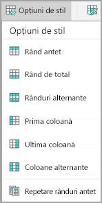 Opțiuni stil tabel Android