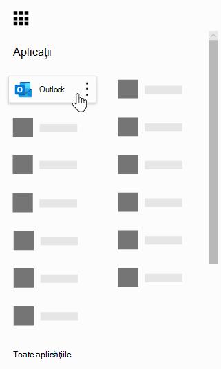 Lansatorul de aplicații Office 365 cu aplicația Outlook evidențiată