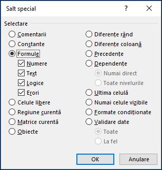 Caseta de dialog Salt - Special