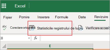 Afișează opțiunea de meniu Statistică registru de lucru