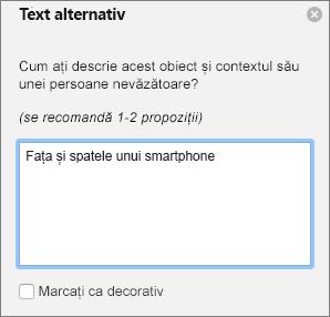 Caseta de dialog Excel 365 scrieți Text alternativ pentru imagini