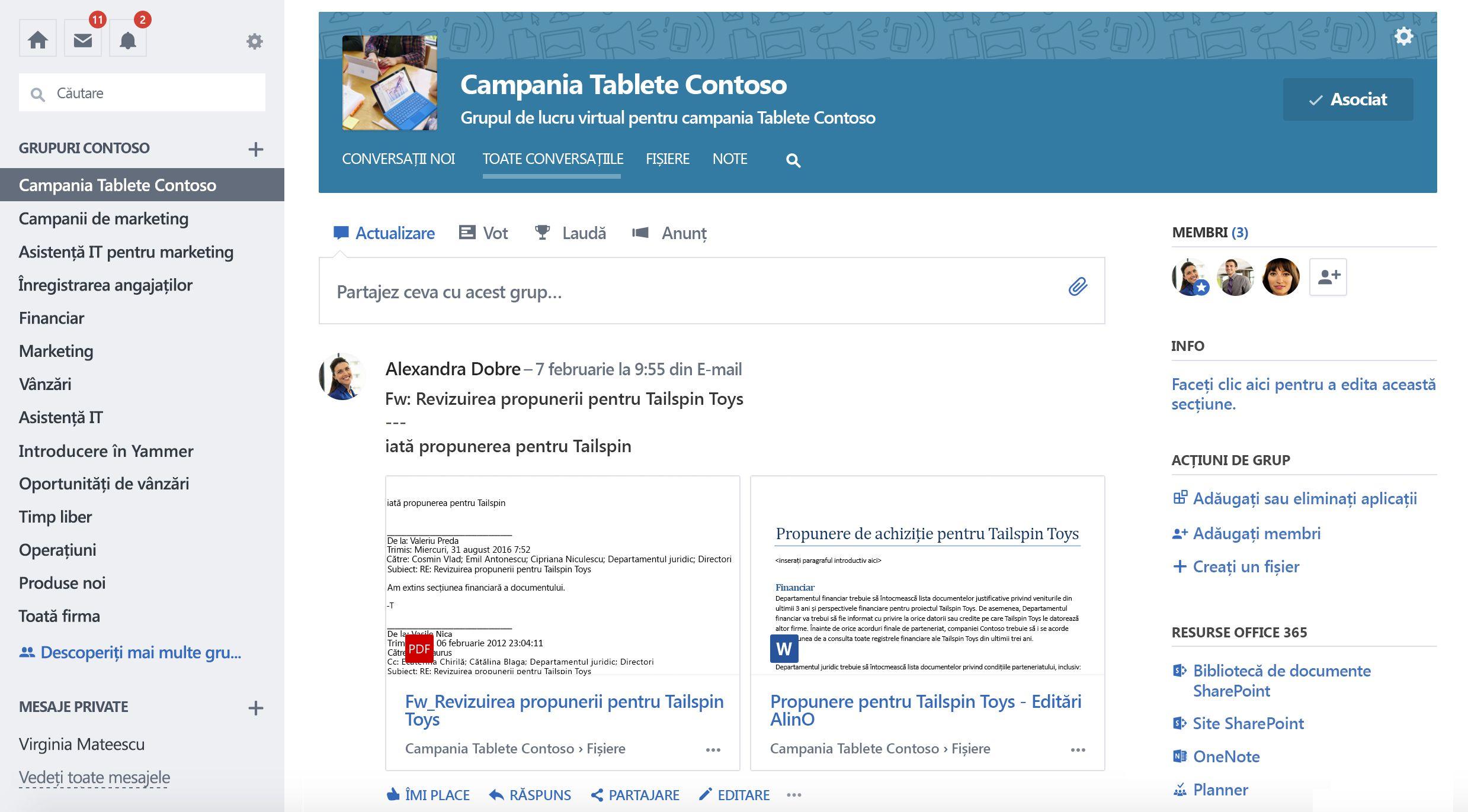 Captură de ecran cu conversațiile de grup Yammer conectate la Office 365