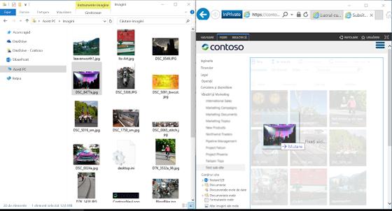 Captură de ecran cu SharePoint și Windows Explorer paralel utilizând tasta Windows și tastele săgeată.