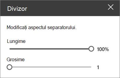 Panoul de detalii parte Web separator din SharePoint Online în timp ce editați un site