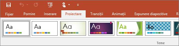 Afișează fila Proiectare pe panglica din PowerPoint
