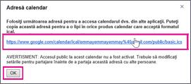 calendar google - caseta cu adresa calendarului