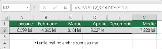 Utilizarea SUM cu alte funcții.  Formula din celula M2 este =SUM(A2:L2)/COUNTA(A2:L2).  Notă: coloanele Mai-Noiembrie sunt ascunse pentru claritate.