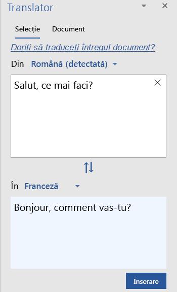 Afișarea selecție traducere