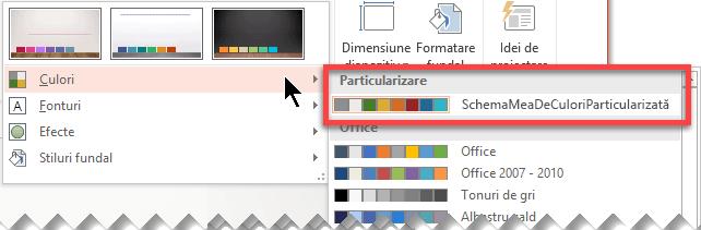 După ce definiți o schemă de culori particularizată, aceasta apare în meniul vertical Culori