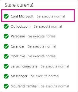 Starea serviciului cont Microsoft