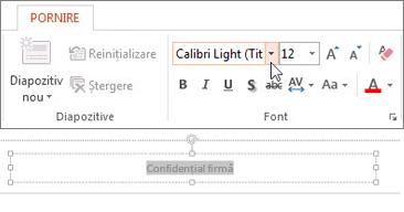 Modificarea fontului subsolului