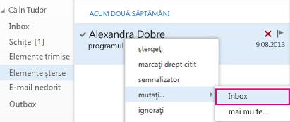 Calea de meniu de utilizat pentru a recupera elementul din folderul Elemente șterse din Outlook Web App