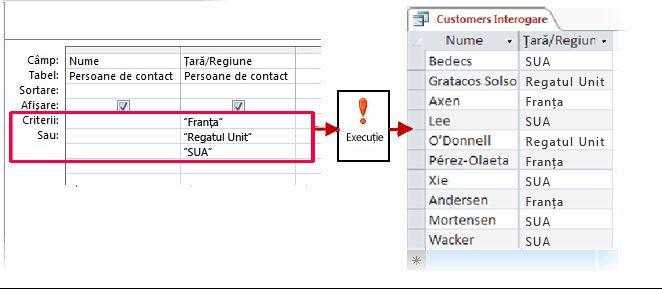 Utilizarea criteriilor OR în proiectant și rezultatele