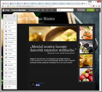 Exemplu de bară laterală în instrumentul de proiectare de site-uri web GoDaddy