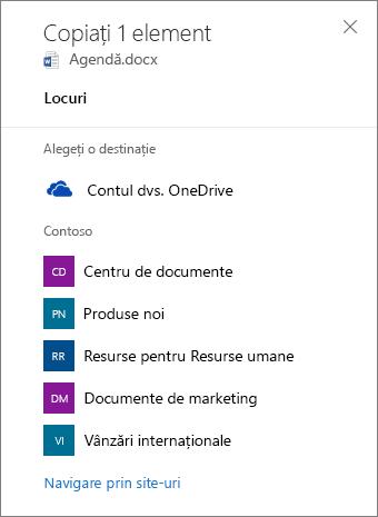 Captură de ecran a alegerea o destinație atunci când copiați o fișierelor din OneDrive pentru Business într-un site SharePoint.