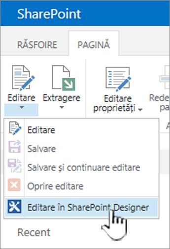 Selectarea SharePoint Designer din meniul de editare