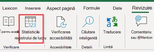 Comanda statistică registru de lucru din panglica Excel