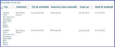 Partea Web Business Tasks cumulează toate activitățile pentru un utilizator.
