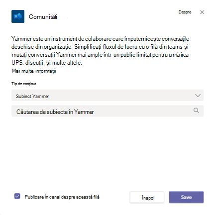 Adăugarea unei pagini Yammer comunități la un canal teams