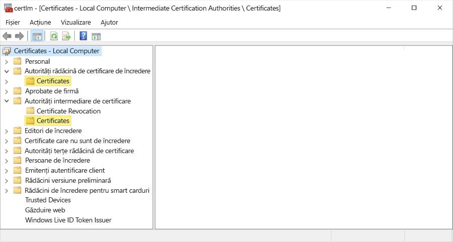 Certificat de ierarhie afișate pe computerul Local