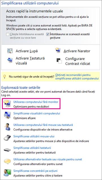 Centrul de simplificare acces din Windows
