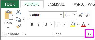 Butonul lansator casetă de dialog Font