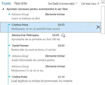 Exemplu de Conversație cu scindări extinse complet în lista de mesaje