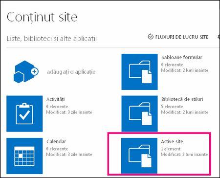 Pagina Conținut site pe site-ul simplu din SharePoint Online, evidențiind dala Active site