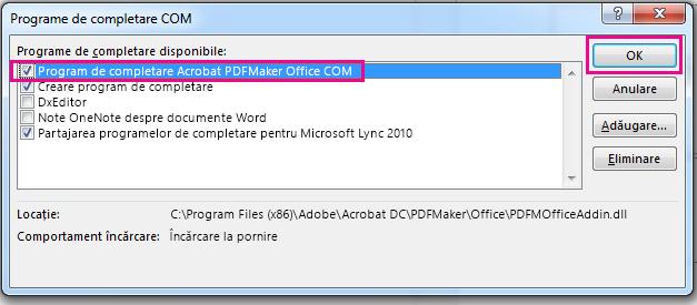 Bifați caseta de selectare pentru Acrobat PDFMaker Office COM program de completare și faceți clic pe OK.