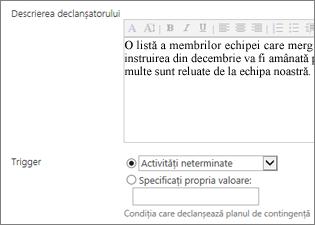 Descrierea declanșatorului și declanșator