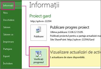 Verificarea progresului unei imagini de planificare