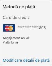 Secțiunea Metodă de plată dintr-o fișă de abonament pentru un abonament plătit cu cardul de credit.