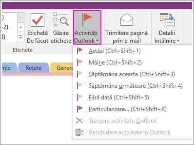 Captură de ecran cu butonul Activități Outlook în OneNote 2016.