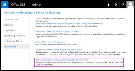 Instrumente pentru Skype for Business