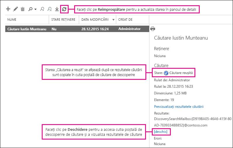 Faceți clic pe Deschidere pentru a accesa cutia poștală de descoperire de căutare și a vizualiza rezultatele de căutare