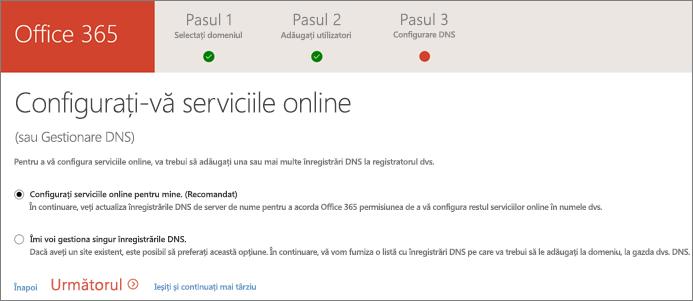 Configurarea serviciilor online
