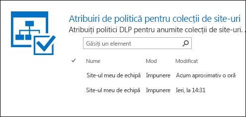Politica atribuirile pentru colecții de site-ul
