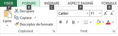 Sfaturi pentru tastele pe Panglica Excel 2013