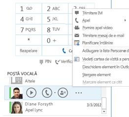Captură de ecran cu verificarea poștei vocale în Lync