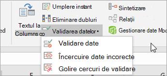 Meniul validare date