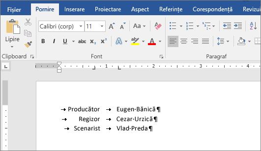 Un exemplu afișează textul aliniat la tabulatorii de pe riglă.