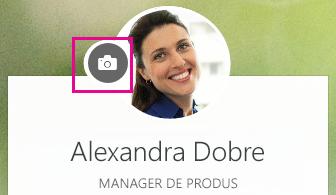 Faceți clic pe pictograma cameră pentru a vă schimba fotografia