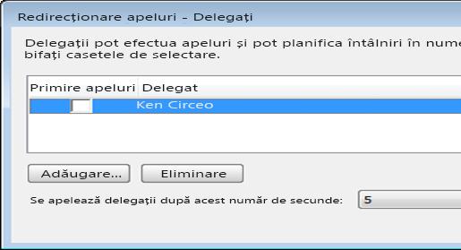 Captură de ecran cu adăugarea unui delegat în Lync