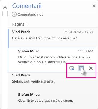 Imaginea comenzii de marcare a comentariilor ca finalizate. Faceți clic pe un comentariu pentru a afișa comanda.