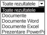 Opțiuni pentru rezultate, inclusiv Toate rezultatele, Documentele, Documente Word, Documente Excel și Prezentări PowerPoint