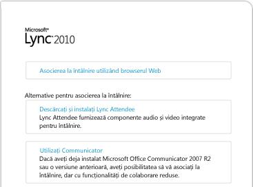 Imaginea ferestrei browserului Lync