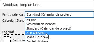 Resurse în lista pentru calendar